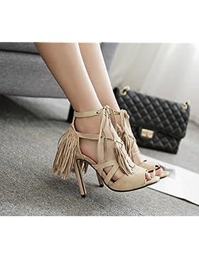 KHSKX-Albaricoque 8.5Cm Zapatos Zapatos De Cuero Con Correa De Flecos Anillos De Los Pies Con Zapatos De Tacon...