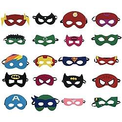 Superheroes Party Masks para niños (20 paquetes) Disfraces para niñas, niños y niños