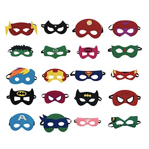 cutebows Superhelden Party Masken für Kinder (20-Pack) Kostüme für Mädchen, Jungen, Kinder