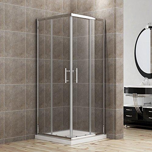 Preisvergleich Produktbild Duschkabine/Duschabtrennung 80x80cm Eckeinstieg mit Duschwanne Doppel Schiebetür Echtglas