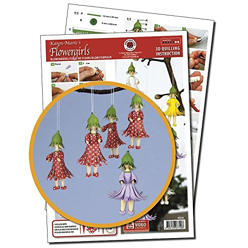 Karen Marie Klip Papirmuseets By A/S Quilling Template Flowergirls 3D Quilling (ohne Pappe)