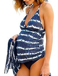 QinMM Traje de baño Mujer Maternidad Premamá Para Mujer Rayado Deportes Tankini Bañador de dos piezas Pregnancy Bikini