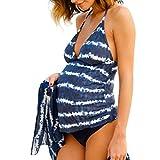 QinMM Traje de baño Mujer Maternidad Premamá para Mujer Rayado Deportes Tankini Bañador de una Pieza Pregnancy Bikini