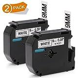 Bruder P touch M-K221 MK221 9mm Beschriftungsband M-Schriftband, Schwarz auf Weiß 8 m lang, kompatibel mit Brother PT-85, PT-75, PT-BB4, PT-55, PT-65, PT-80, PT-90, PT-M95 Etikettendrucker, 2 Stück