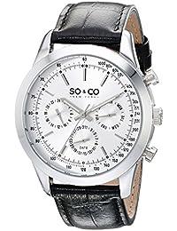 So y de Nueva York Monticello Co para hombre reloj infantil de cuarzo con esfera analógica blanca y negro correa de piel 5006al, 1