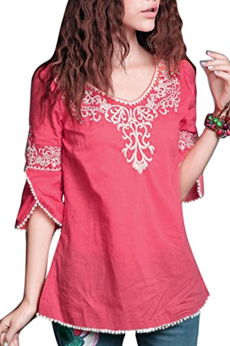 Triumphin Women's Embroidered Cotton Top (Pink_Large)