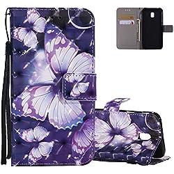 Etui Samsung J7 2017 Violet, Aeeque Motif Papillon Glitter Coque en Cuir PU pour Samsung Galaxy J7 (2017) J730 Anti-rayure Housse de Protection Rigide Bumper avec Carte de Crédit et Support Fonction