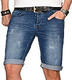 A. Salvarini Herren Designer Jeans Short Kurze Hose Slim Sommer Shorts Bermuda [AS-104-W33]