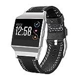 Für Fitbit Ionic Uhrenarmband, OverDose Mode Luxus Quick Release Echtes Lederband Armband Zubehör Straps Für Fitbit Ionic(140-205mm,Schwarz)