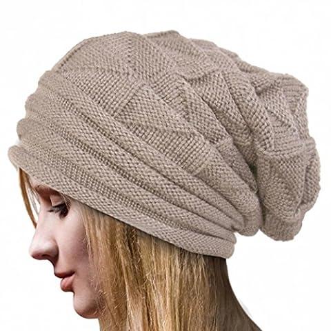 Omiky® - Ensemble bonnet, écharpe et gants - Femme - beige - taille libre