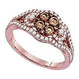 Anillo de oro rosa de 14 quilates para él y para ella con diamantes...
