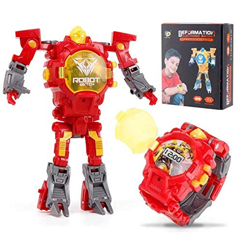 CWeep Deformation Transform Toys Robot Watch, 2 in 1 Kids Digital Electronic Deformation Watch Bots Toys,Creative Educational Learning Xmas Toys for 3-12 Years Old Boys Girls Gifts (Red)