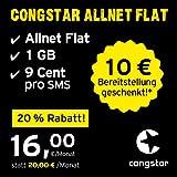 congstar Allnet Flat [SIM, Micro-SIM und Nano-SIM] 24 Monate Laufzeit (16,00 Euro/Monat, 1 GB Datenflat mit max. 21 Mbit/s, Allnet Flat in alle dt. Netze) in bester D-Netz-Qualität preiswert