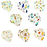 Baby Bandana Dribble Bibs, Vakki 8 Packs Drools Bibs for Boys and Girls, Super Soft Skin-Friendly Absorbent