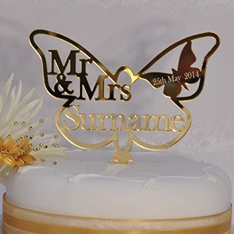 Personalised Mr and Mrs Butterfly Cake Topper 150mm x 105mm - Wedding/Anniversary Keepsake - GOLD Mirror Acrylic -
