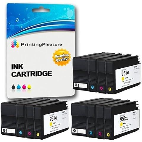 12 Compatibili HP 950XL / HP 951XL Cartucce d'inchiostro Sostituzione per HP Officejet Pro 8600 8600+ 8100 8610 8620 8630 8640 8660 251dw 276dw - Nero/Ciano/Magenta/Giallo, Alta Capacità