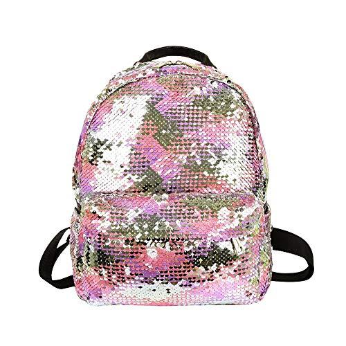 Demiawaking Zaino con Paillettes Glitterati Borsa da Viaggio Borsa da Scuola Casual per Ragazze (Rosa)