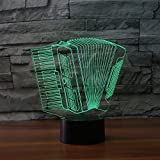 3D Lampe 3D Leuchte 3D LED Stimmungslicht. 7 verschiedene Farben wählbar - Auswahl aus 81 verschiedenen Motiven, Akkordeon 21x15cm inkl.Sockel - 3D Illusion Dekolicht mit USB Anschluß und 220V USB Netzteil