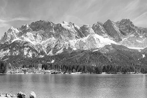Bilderdepot24 Fototapete selbstklebend Zugspitzmassiv in den Alpen - schwarz weiß 225x150 cm