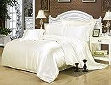 Pure Color Luxus-Bettwäscheset, Satin, 1Bettbezug, 1Bettlaken, 2Kopfkissenbezüge, Polyester, weiß, King:220x240CM