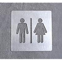 Targhetta in acciaio_bagno uomo/donna_10x10 cm
