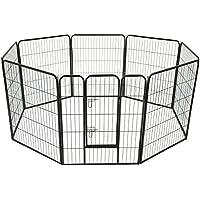 HOMCOM PawHut Parque Mascotas 8 Vallas 80x100 cm Entrenamiento Cachorros con Puerta