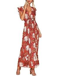 Terryfy Damen Lang Maxikleid Sommer Sexy Elegant V Ausschnitt Blumen Boho  bodenlang Kleid b0414fbe13