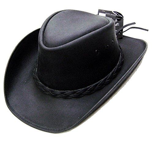 Modestone Unisex Leather Chapeaux Cowboy Black