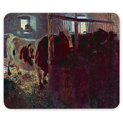 Klimt - Cows In Stall, Pelle Mouse Pad Tappetino per Mouse Mouse Mat con Immagine Colorato Antiscivolo in Gomma di Base compatibile con Apple Magic Mouse. Ideale per Giocare 250 x 190mm.