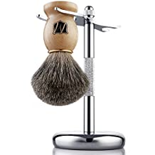Miusco Premium 100% Reines Dachshaar Rasierpinsel und Luxus-Ständer Rasierset, Chrom Rasierpinselhalter , Holzfarbe Rasierpinsel