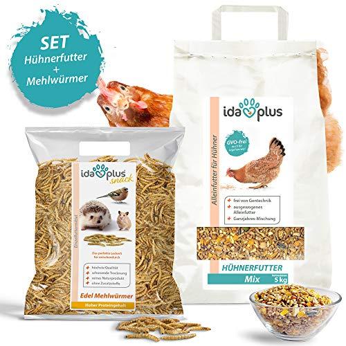 Ida Plus - Hühnerfutter (5 KG) + Mehlwürmer (1 KG) | Ausgewogenes Alleinfutter + Edel Mehlwürmer getrocknet | Ganzjahres Mischung, GVO-Frei (Auch für Legehennen) | Enthält Calcium und Vitamine