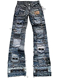 Ticila Seven Star Miss Damen Jeans blau Designer Rock Star Patchwork Denim