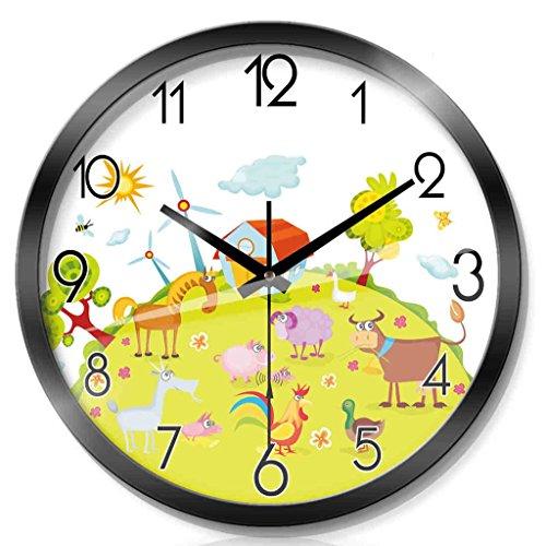 ZML Horloge Murale, Radio contrôlée, Non-coutil, Cartoon Round, Salon
