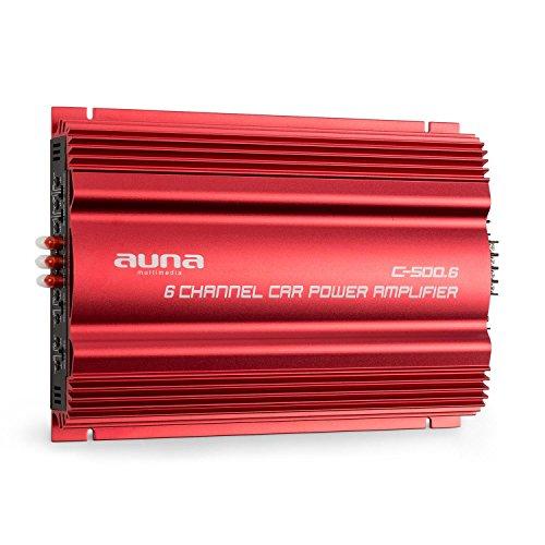 auna C500.6 • Car HiFi Verstärker • 4-Kanal Auto-Endstufe • Car Amplifier • 4 x 65 + 1 x 100 Watt RMS-Ausgangsleistung• regelbarer Hoch- und Tiefpass-Filter • 10 Hz - 30 kHz • brückbar • rot 6 Kanal