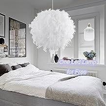 Weiße Feder Decke Anhänger Licht Schatten   Aiernuo Moderner Luxus  Lampenschirm Mit 9W 900LM LED Birne
