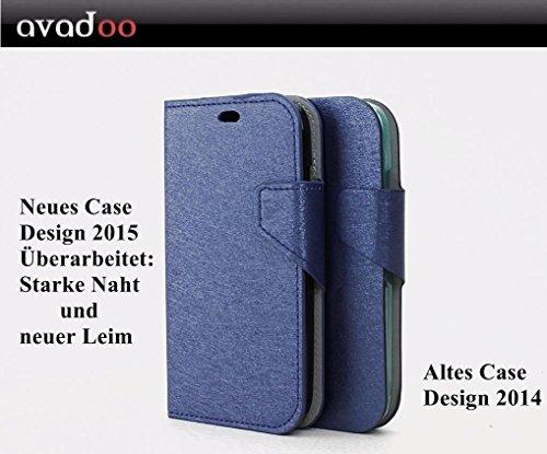 avadoo® Wiko Darknight Flip Case Cover in Blau mit Magnetverschluss stark vernäht und mit neuem Leim als Cover Tasche Hülle