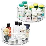 mDesign Juego de 2 bandejas organizadoras - Organizador de medicamentos giratorio - Organizador de medicinas para el botiquín - transparente