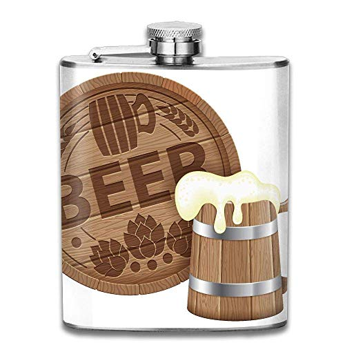 Oktoberfest Beer Barrel Mug Fashion Portable Stainless Steel Hip Flask Whiskey Bottle 7 Oz Barrel Mug