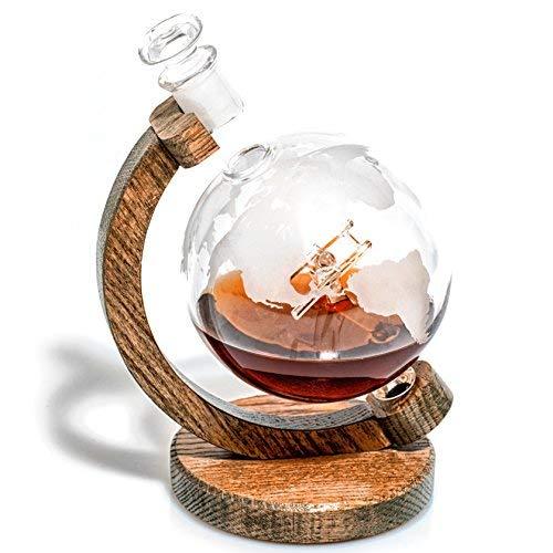Geätzt Globe Flugzeug Whiskey Dekanter-1000ml bleifreies Glas Bourbon Dekanter mit Glas Flugzeug Innenseite für Scotch, rum, Wein oder Whisky 34oz (- Sopwith Camel) Prestige-stopper
