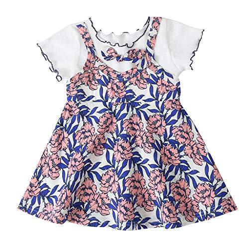 Lazzboy Baby Kinder Mädchen Kleinkind Drucken ärmellose Blume Party Prinzessin Kleider Kleidung Sommer Streifen Kurzarm Baumwolle T-Shirt Kleid(Rosa,Höhe120)