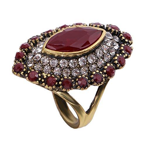 Große Modeschmuck Ringe (MagiDeal Ethnisch Ring Schmuckstein Und Kristalle Besetzt Fingerring Modeschmuck Schmuckstück für Frauen - Rot)