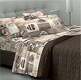 GoldenHome EmmaParure complète pour lit 2 placescomposé d'un drap-housse à bonnets, d'un drap de dessus et de 2 taies d'oreiller Cuori_rossi