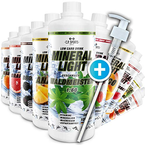 C.P. Sports Mineral Light - Concentrado de bebida de sirope de electrolitos, mineral y vitaminas, varios tipos, incluye dispensador, 1l/1000ml, amarillo limón