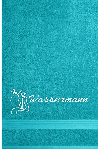 Linz Frottiertuch mit Sternzeichen Wassermann Stickerei | 70 x 140 cm | Aquamarin Blau