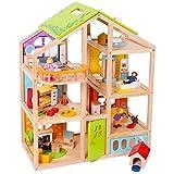 TikTakToo Puppenhaus aus Holz komplett mit Möbeln Biegepüppchen Familie Set - mit Hund und Hundehütte, Kinderzimmer, Wohnzimmer, Lesezimmer, Küche, Bad mit Dusche und Badewanne, für Biegepuppe