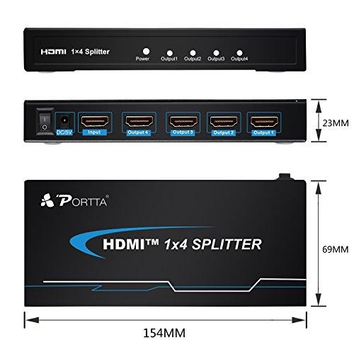 Portta pet01041Port 1x Eingänge/4x Ausgang HDMI Splitter Splitter v1.3Halterung 1080P - 4