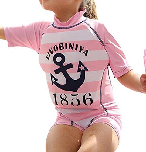 G WELL Kinder Float Suit Einteiler Bojen Badeanzug Auftrieb Schwimmanzug Bademode mit Schwimmhilfe für Jungen Mädchen 110-120cm Rosa Anker XL