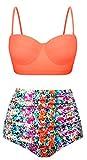 EasyMy Damen Hohe Taille Bikini Vintage Bademode, Mehrfarbig, EU 44-46Tag Size 3XL