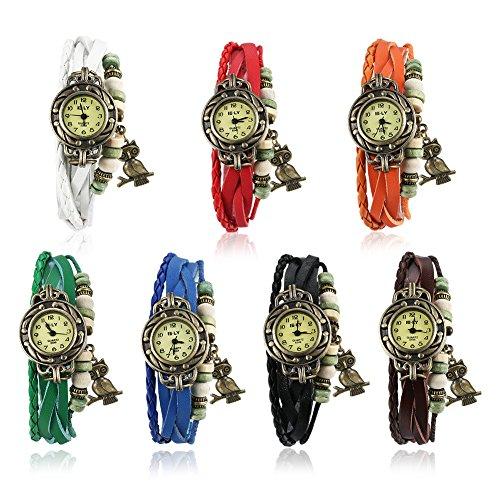 Faysting EU orologio da polso alloy pelle braccialetto colorato moderna stile perline stile con gufo