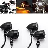 LEAGUE&CO 4x Clignotant Moto Universel Custom Ampoule Balle lumière Ambre Feux Signal Indicateurs pour Honda Suzuki Kawasaki Triumph en Metal Noir